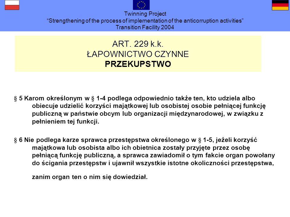 ART. 229 k.k. ŁAPOWNICTWO CZYNNE PRZEKUPSTWO