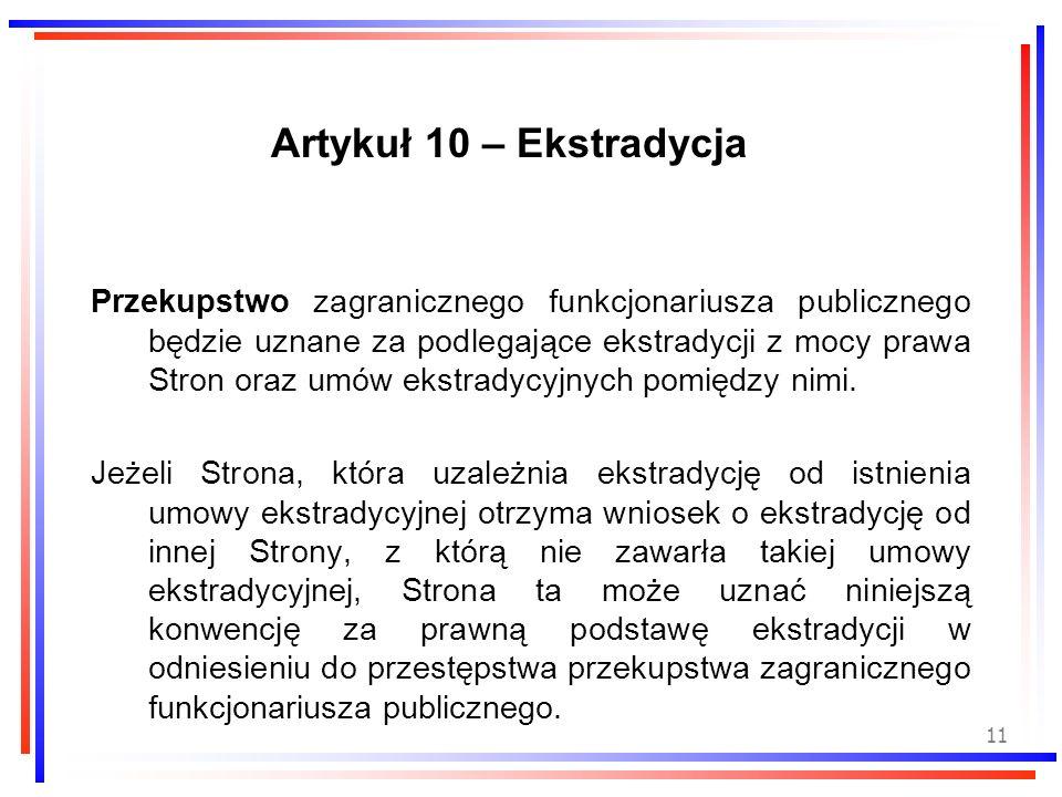 Artykuł 10 – Ekstradycja