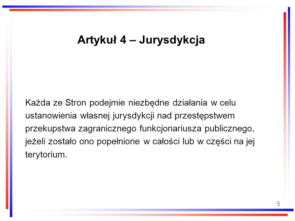 Artykuł 4 – Jurysdykcja Każda ze Stron podejmie niezbędne działania w celu. ustanowienia własnej jurysdykcji nad przestępstwem.