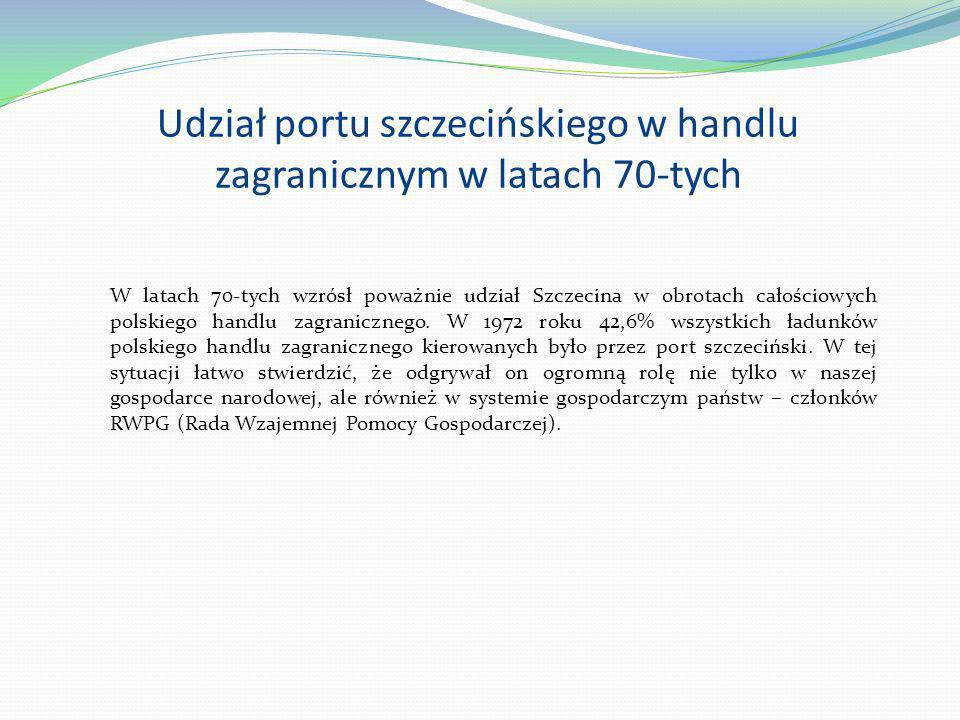 Udział portu szczecińskiego w handlu zagranicznym w latach 70-tych