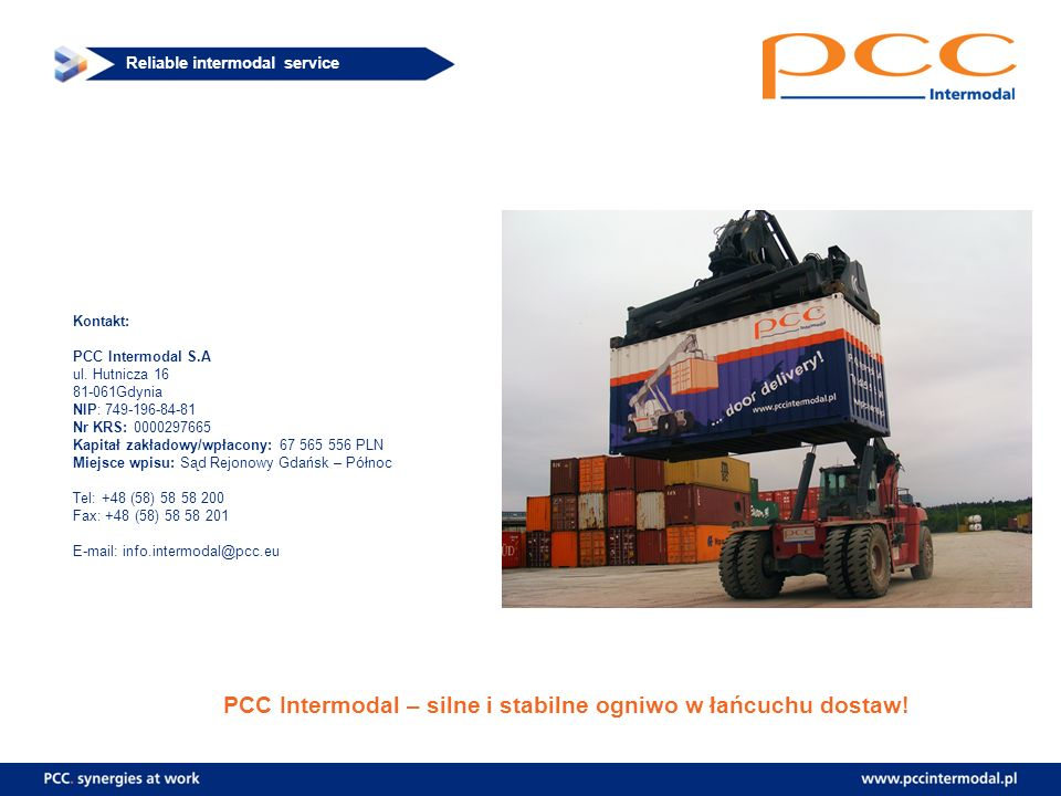 PCC Intermodal – silne i stabilne ogniwo w łańcuchu dostaw!