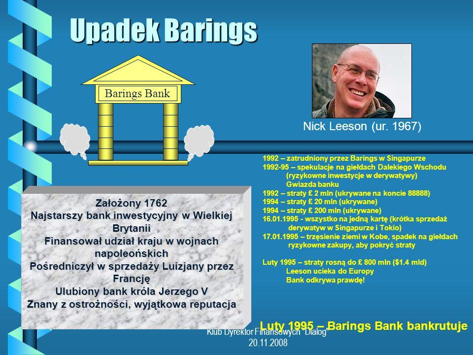 Upadek Barings Barings Bank Nick Leeson (ur. 1967)