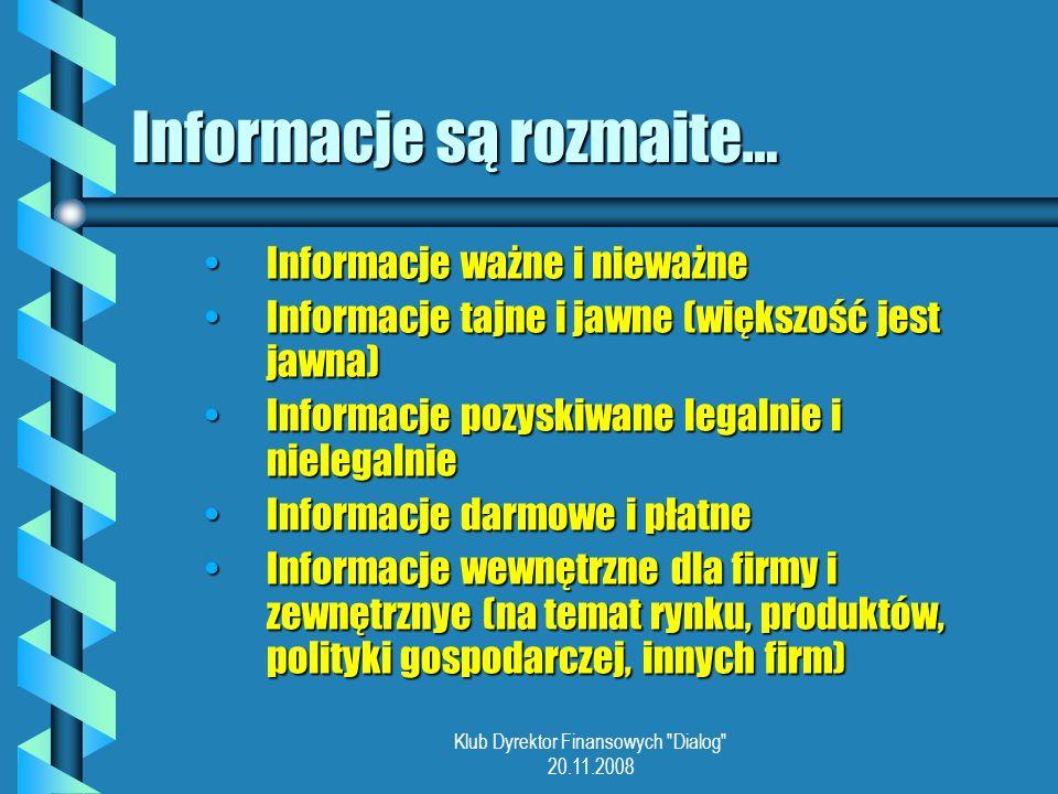 Informacje są rozmaite…