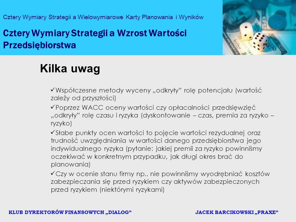 Kilka uwag Cztery Wymiary Strategii a Wzrost Wartości Przedsiębiorstwa