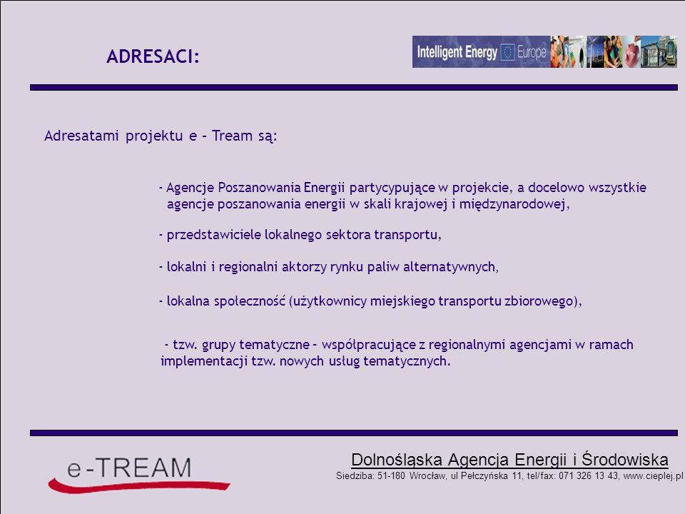 ADRESACI: Adresatami projektu e – Tream są: - Agencje Poszanowania Energii partycypujące w projekcie, a docelowo wszystkie.