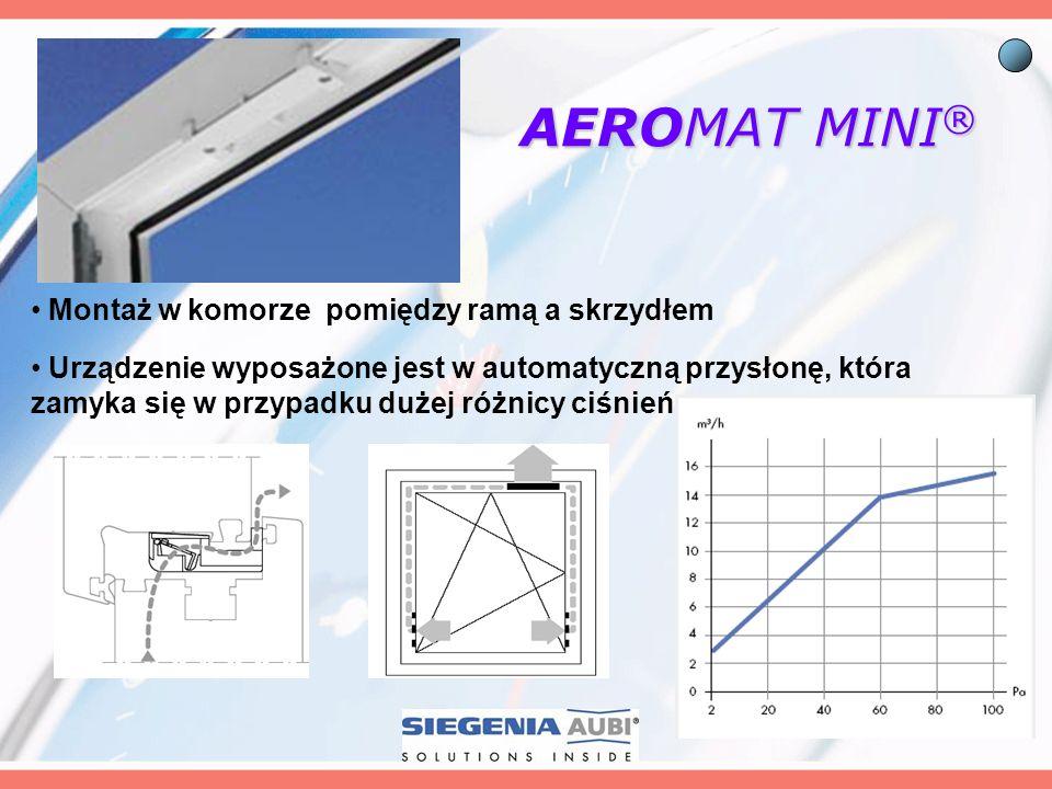 AEROMAT MINI® Montaż w komorze pomiędzy ramą a skrzydłem