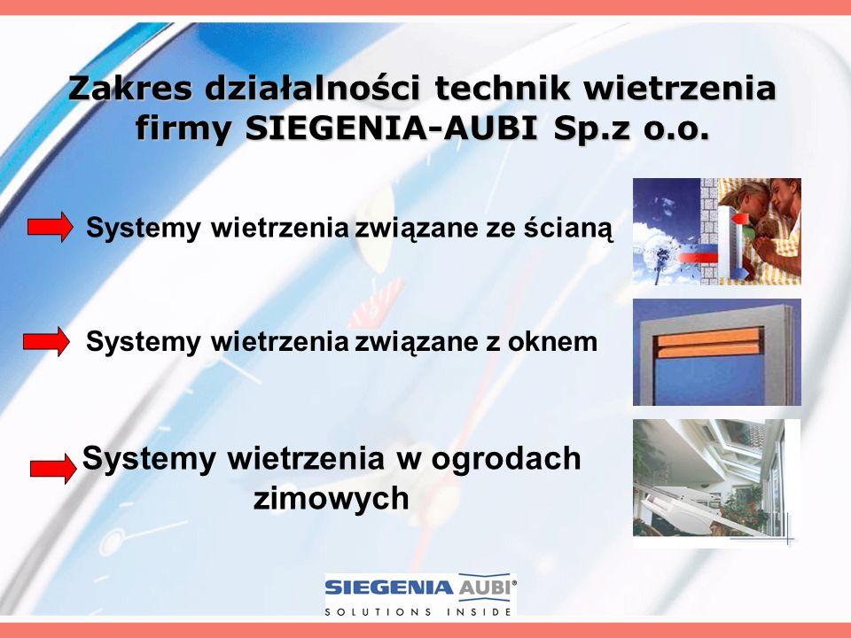 Zakres działalności technik wietrzenia firmy SIEGENIA-AUBI Sp.z o.o.