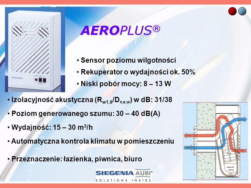AEROPLUS® Sensor poziomu wilgotności Rekuperator o wydajności ok. 50%