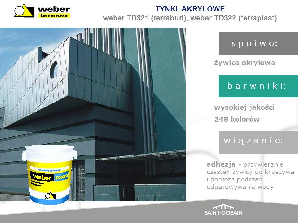 TYNKI AKRYLOWE weber TD321 (terrabud), weber TD322 (terraplast)