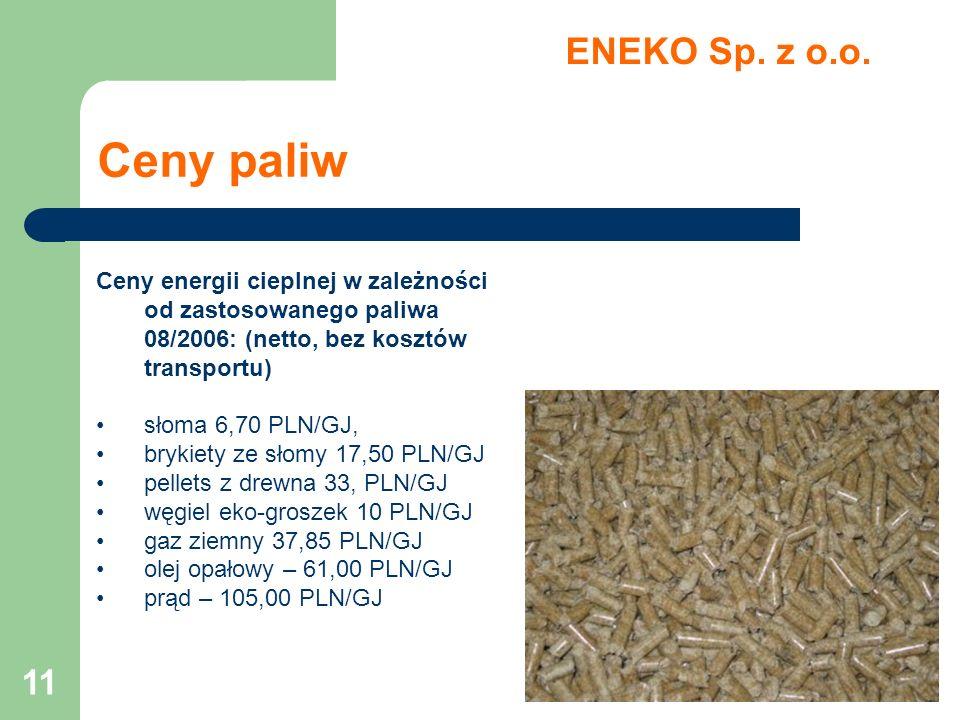 ENEKO Sp. z o.o. Ceny paliw. Ceny energii cieplnej w zależności od zastosowanego paliwa 08/2006: (netto, bez kosztów transportu)