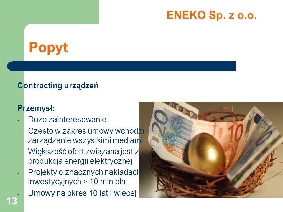 Popyt ENEKO Sp. z o.o. Contracting urządzeń Przemysł: