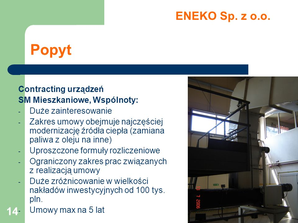 Popyt ENEKO Sp. z o.o. Contracting urządzeń