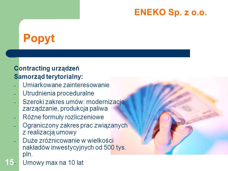 Popyt ENEKO Sp. z o.o. Contracting urządzeń Samorząd terytorialny: