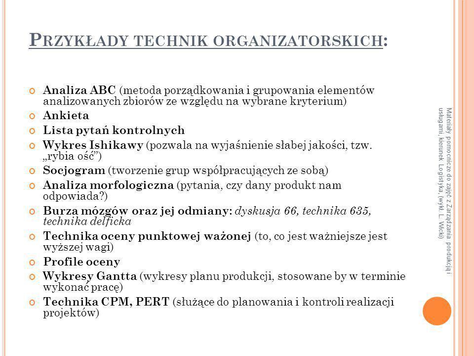 Przykłady technik organizatorskich: