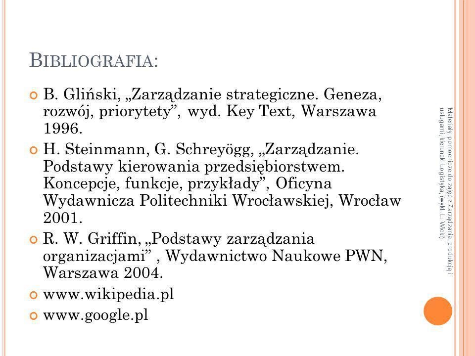 """Bibliografia: B. Gliński, """"Zarządzanie strategiczne. Geneza, rozwój, priorytety , wyd. Key Text, Warszawa 1996."""