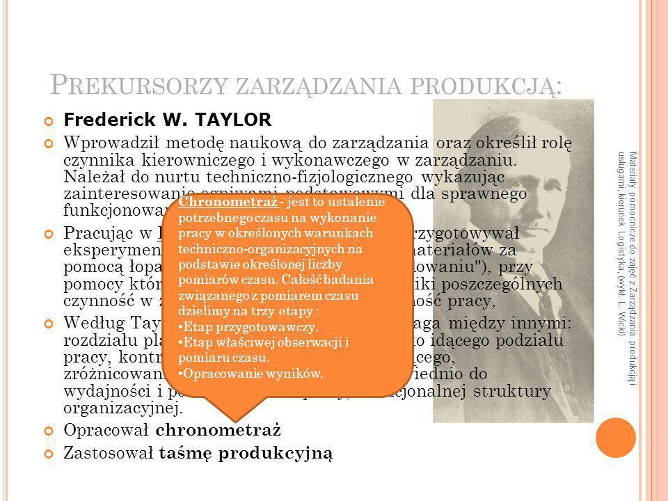 Prekursorzy zarządzania produkcją: