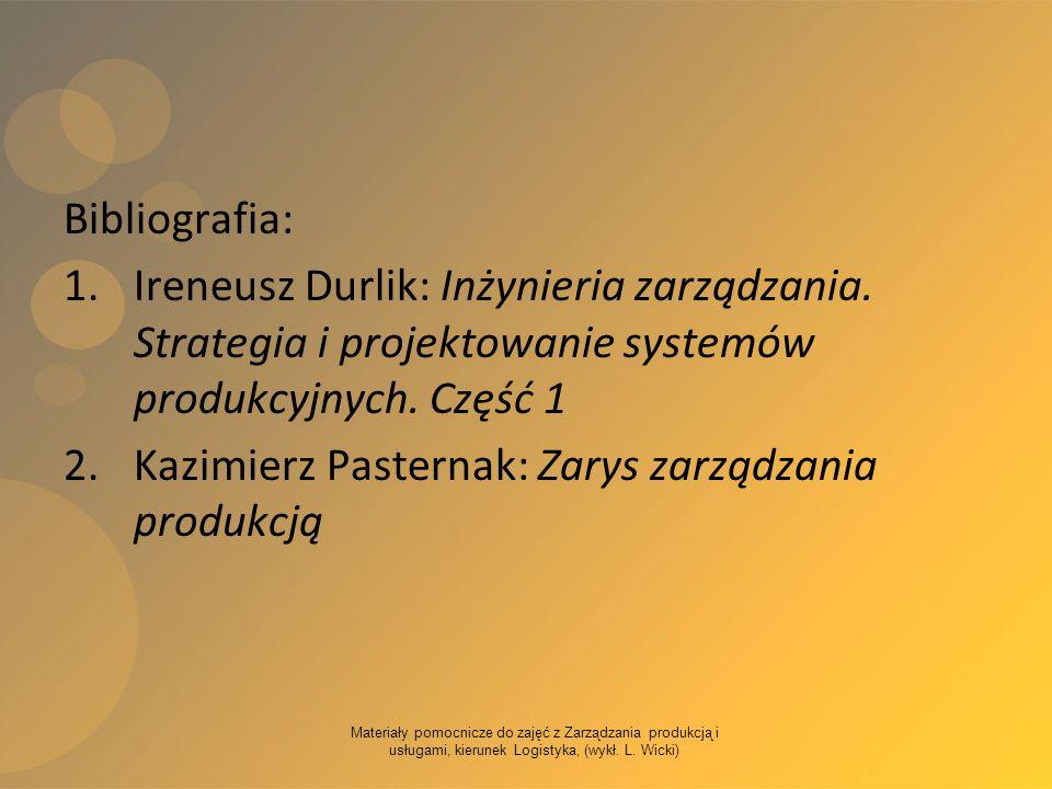 Kazimierz Pasternak: Zarys zarządzania produkcją