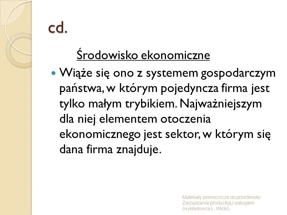 cd. Środowisko ekonomiczne