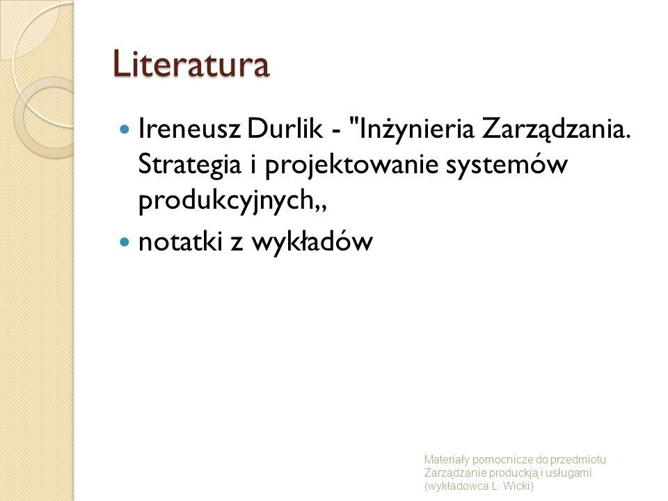 """LiteraturaIreneusz Durlik - Inżynieria Zarządzania. Strategia i projektowanie systemów produkcyjnych"""""""