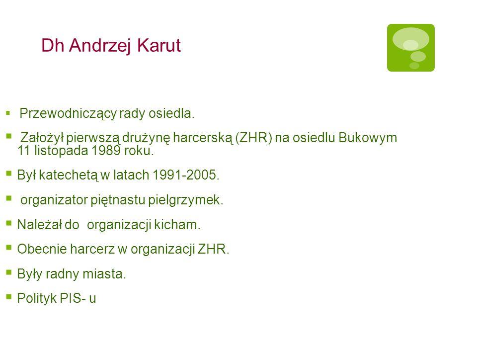 Dh Andrzej Karut Przewodniczący rady osiedla. Założył pierwszą drużynę harcerską (ZHR) na osiedlu Bukowym 11 listopada 1989 roku.