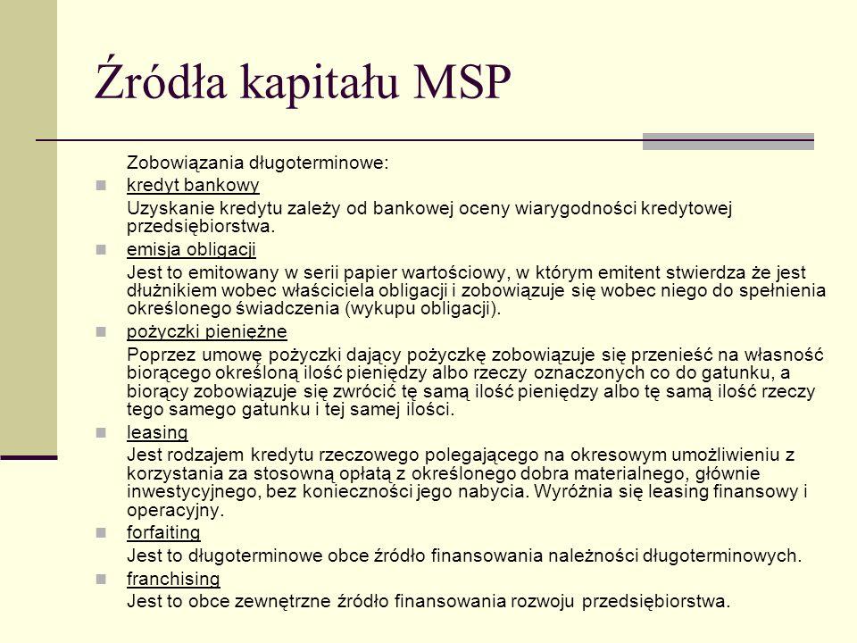 Źródła kapitału MSP Zobowiązania długoterminowe: kredyt bankowy