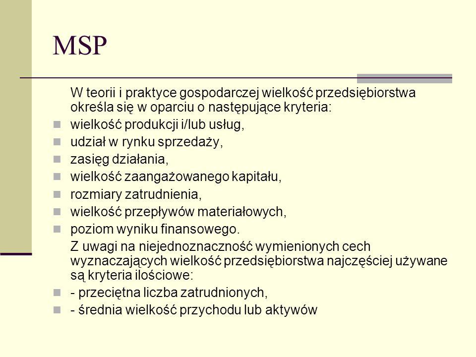 MSP W teorii i praktyce gospodarczej wielkość przedsiębiorstwa określa się w oparciu o następujące kryteria: