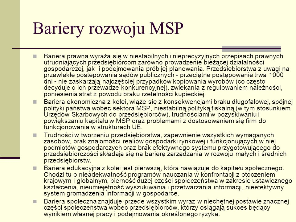 Bariery rozwoju MSP