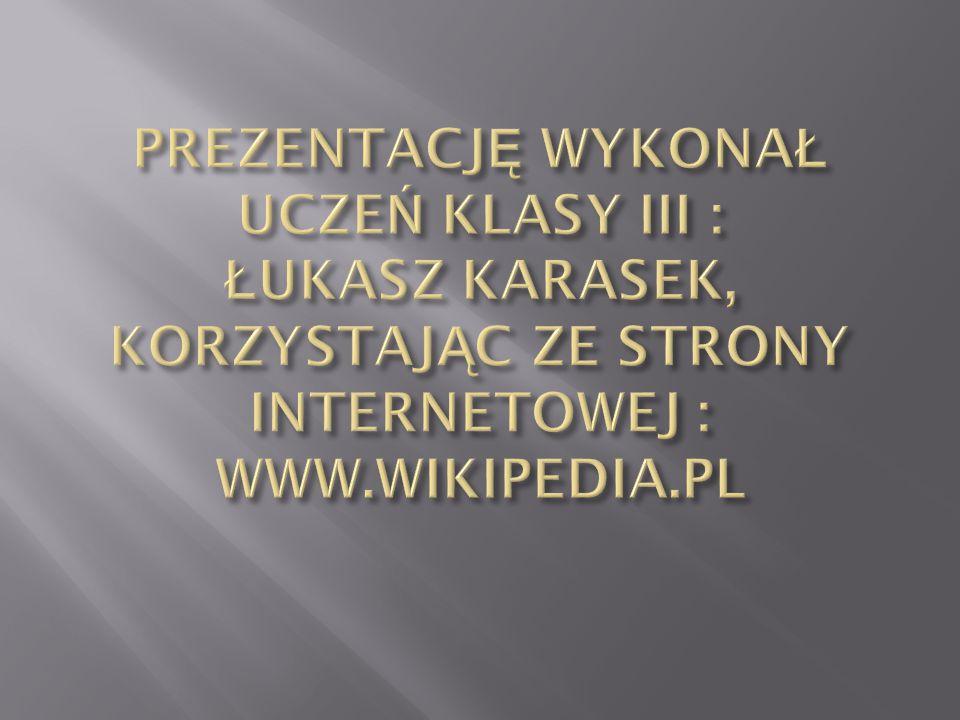 PREZENTACJĘ WYKONAŁ UCZEŃ KLASY III : ŁUKASZ KARASEK, KORZYSTAJĄC ZE STRONY INTERNETOWEJ : WWW.WIKIPEDIA.PL