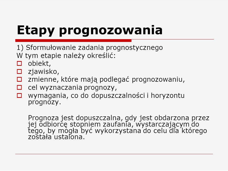 Etapy prognozowania 1) Sformułowanie zadania prognostycznego