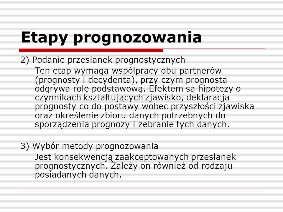 Etapy prognozowania 2) Podanie przesłanek prognostycznych