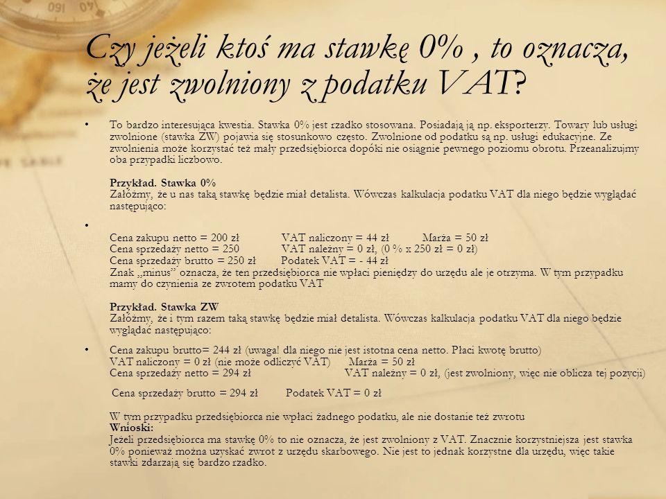 Czy jeżeli ktoś ma stawkę 0% , to oznacza, że jest zwolniony z podatku VAT