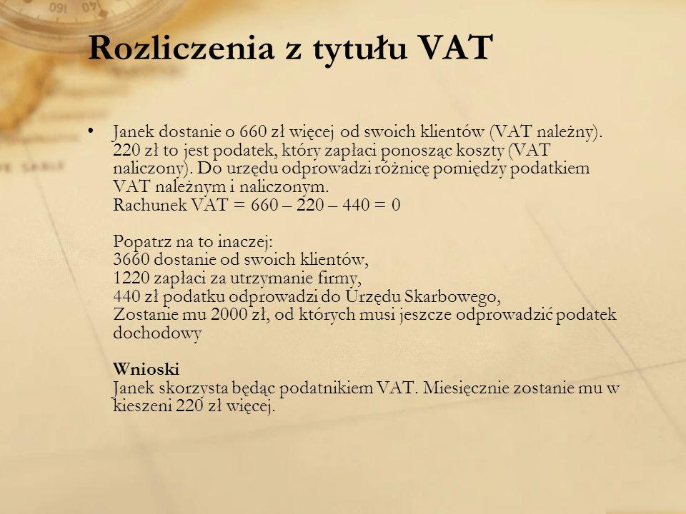 Rozliczenia z tytułu VAT