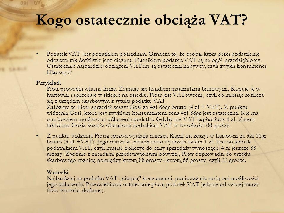 Kogo ostatecznie obciąża VAT
