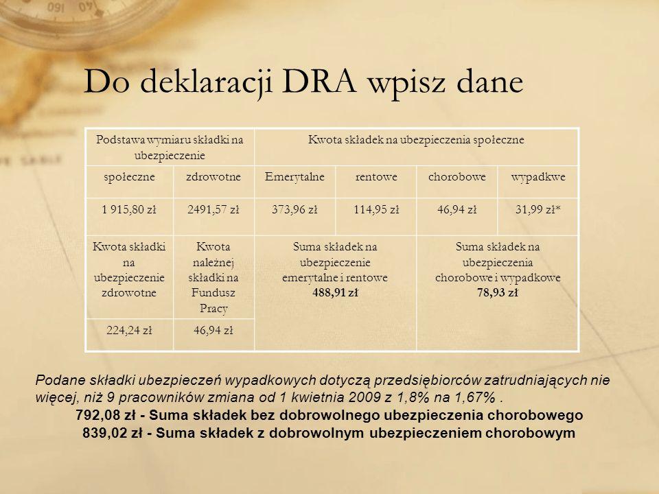Do deklaracji DRA wpisz dane