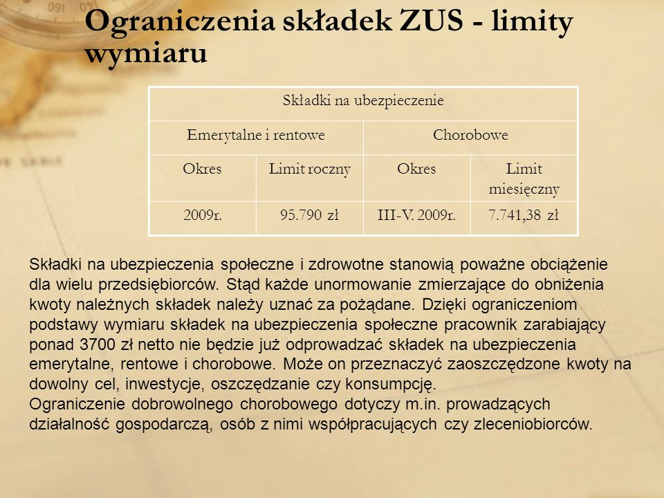 Ograniczenia składek ZUS - limity wymiaru