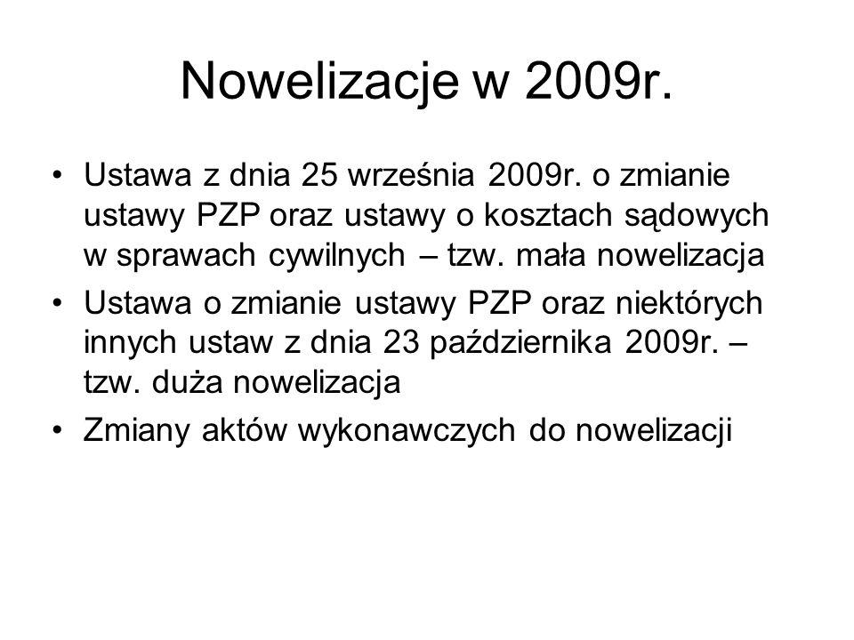 Nowelizacje w 2009r.
