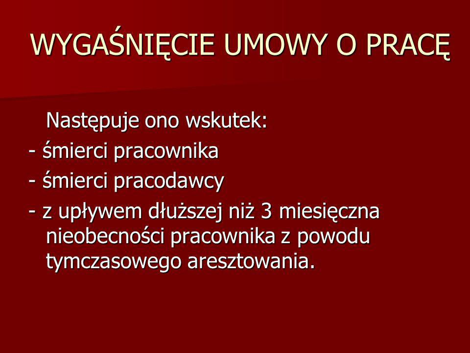 WYGAŚNIĘCIE UMOWY O PRACĘ