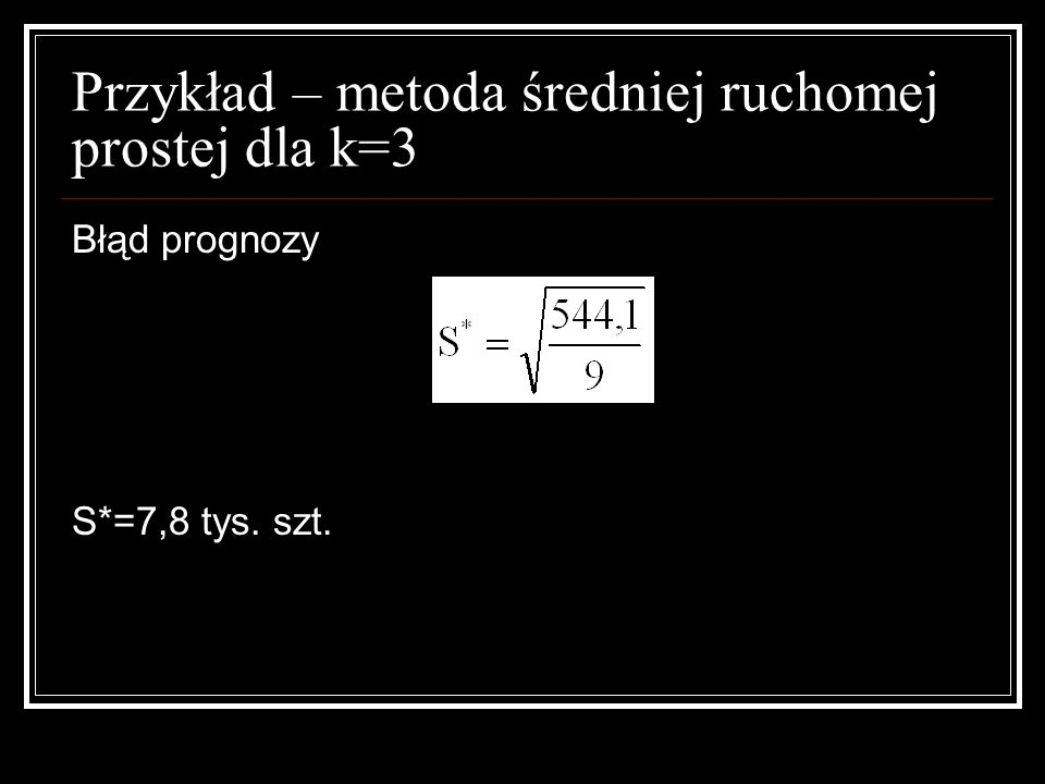 Przykład – metoda średniej ruchomej prostej dla k=3