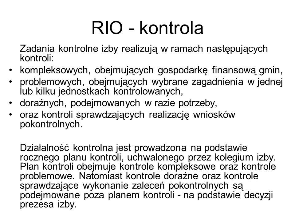 RIO - kontrola kompleksowych, obejmujących gospodarkę finansową gmin,