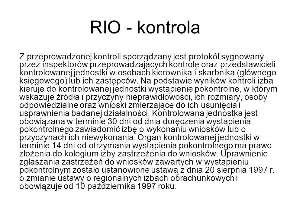 RIO - kontrola