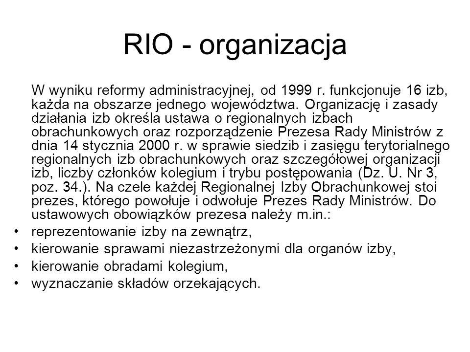 RIO - organizacja reprezentowanie izby na zewnątrz,
