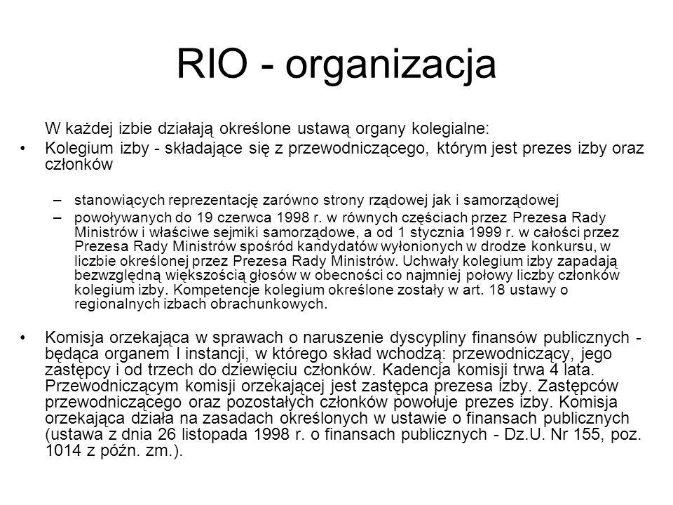 RIO - organizacja W każdej izbie działają określone ustawą organy kolegialne: