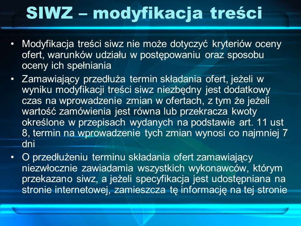 SIWZ – modyfikacja treści