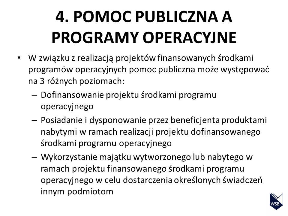 4. POMOC PUBLICZNA A PROGRAMY OPERACYJNE
