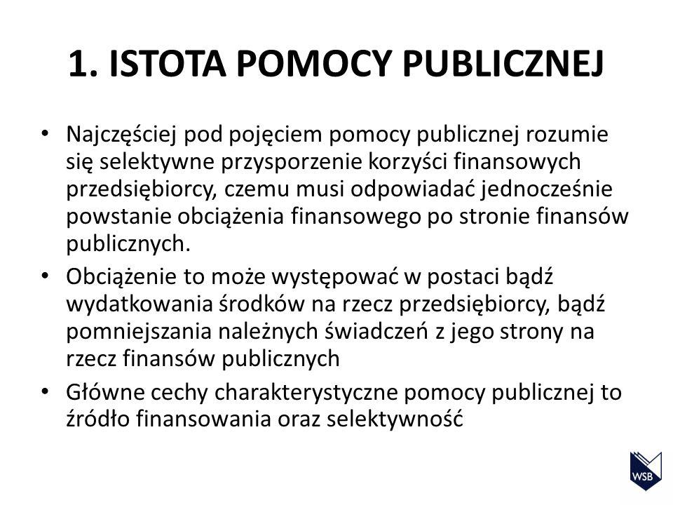1. ISTOTA POMOCY PUBLICZNEJ