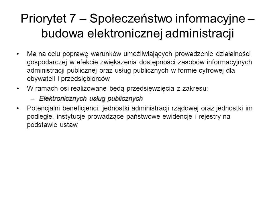 Priorytet 7 – Społeczeństwo informacyjne – budowa elektronicznej administracji