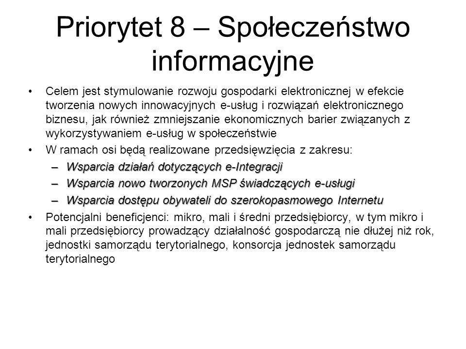 Priorytet 8 – Społeczeństwo informacyjne