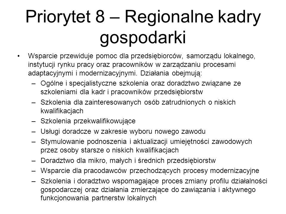 Priorytet 8 – Regionalne kadry gospodarki