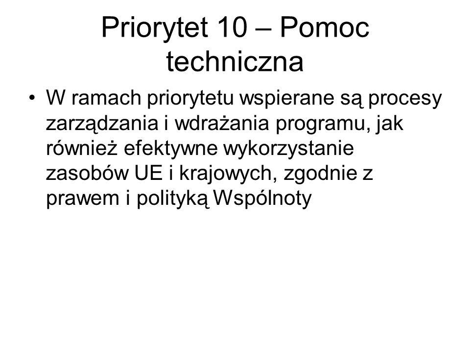 Priorytet 10 – Pomoc techniczna