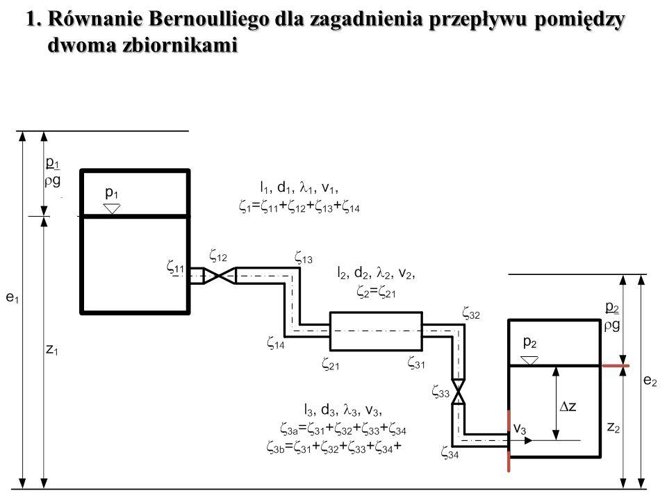 1. Równanie Bernoulliego dla zagadnienia przepływu pomiędzy dwoma zbiornikami